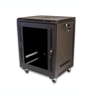 12U Wallmount Cabinet Enclosure Server Network Rack Glass Door Locking Casters