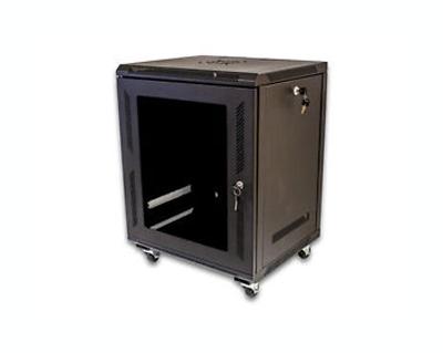 12U Wallmount Cabinet Enclosure Server Network Rack Glass Door Locking Casters