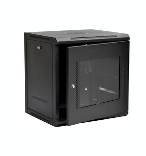 9U IT Wall Mount Network Server Cabinet Rack Built-In Fan Glass Door Lock & Key